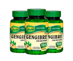 Gengibre Com Chá Verde 360 Cápsulas 400 Mg Kit C/ 3 Pote